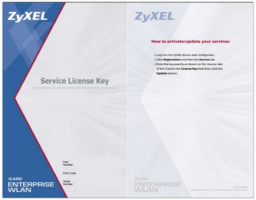 Карта активации ПО ZyXEL E-iCard ZyWALL USG 50 upgrade SSL VPN 2 to 5 tunnels
